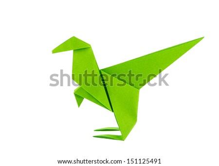 Origami dinosaur - Raptor - isolated on white background - stock photo