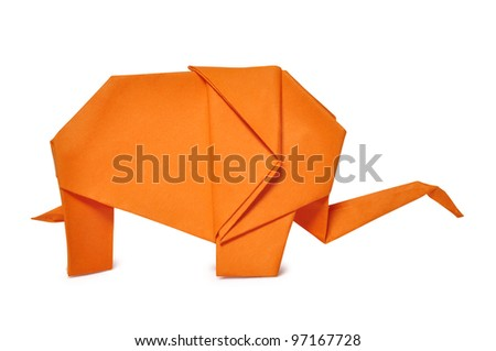 Origami elephant from orange paper isolated on white - stock photo