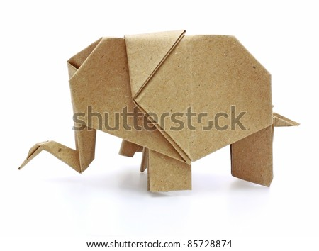 origami elephant recycle paper - stock photo