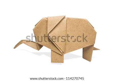 origami elephant recycle paper on a white background, - stock photo
