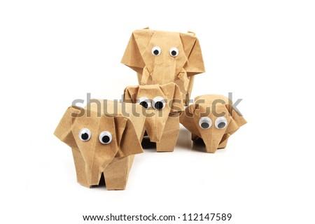 origami elephants recycle paper - stock photo