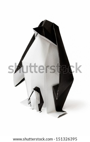 Origami Family penguin on a white background. - stock photo