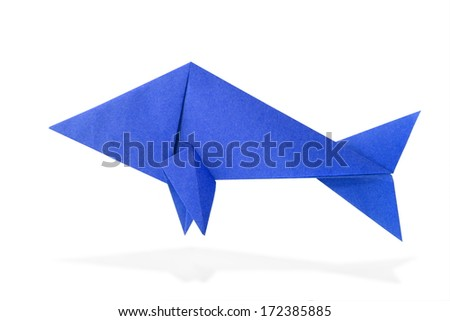 origami fish from recycled paper on white background