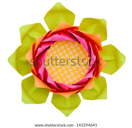 Origami flower: lotus face isolated white - stock photo