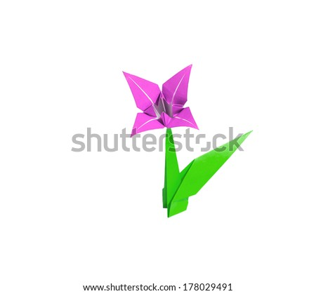 origami flower pink lily isolated on white - stock photo