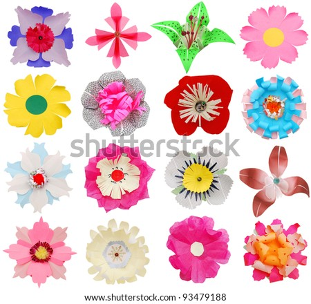Origami flowers in collage - stock photo