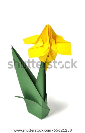 Origami flowers over white - stock photo