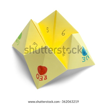 folded paper fortune teller Construction a paper fortune teller may be constructed by the steps shown in the illustration below: the corners of a sheet of paper are folded up to meet.