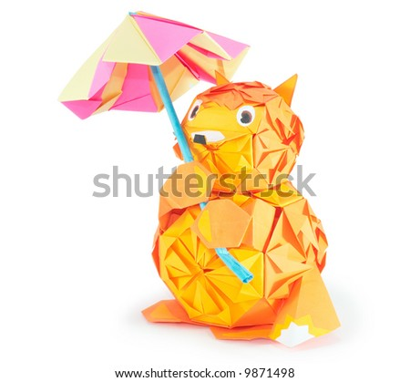 origami fox figure with umbrella (isolated on white, with shadow and clip path) - stock photo