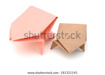 Origami frog, father and son - stock photo