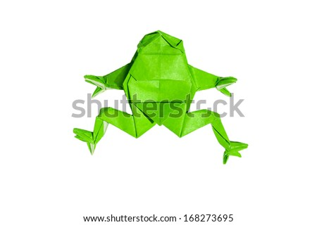 Origami Frog isolated on white - stock photo