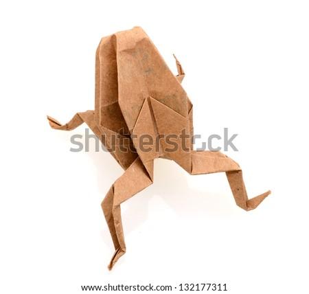 Origami frog on white background - stock photo
