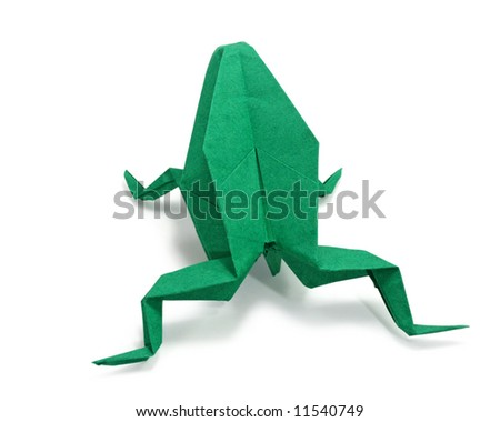 origami frog on white background, close up - stock photo