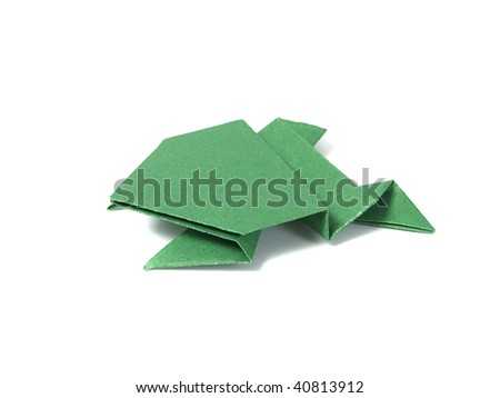 Origami frog over white - stock photo