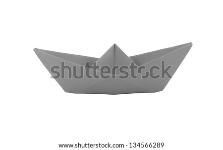 origami gray paper boat on white background