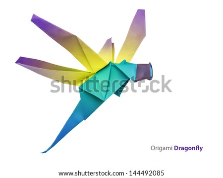 Origami green dragonfly on a white background - stock photo