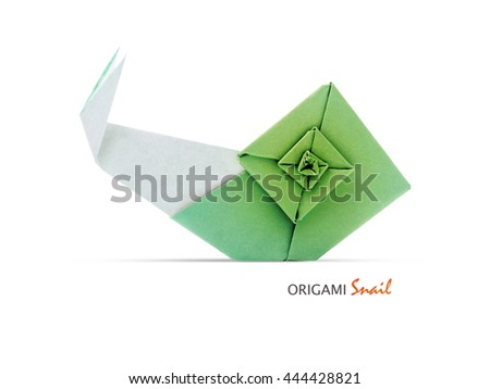 Origami green paper geometric art snail on a white background