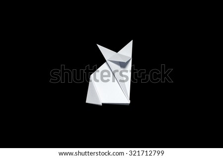 Origami in shape of Fox - stock photo