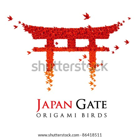 origami Japan gate Torii shaped from flying birds - JPG version - stock photo