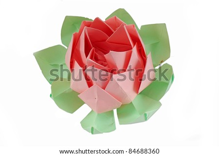 Origami lotus flower isolated on white - stock photo