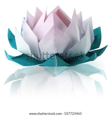 Origami lotus on a white background - stock photo