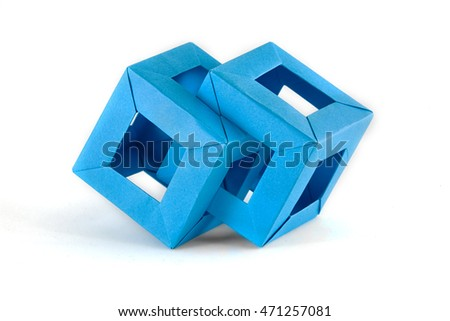 Origami pair blue paper cube on a white background