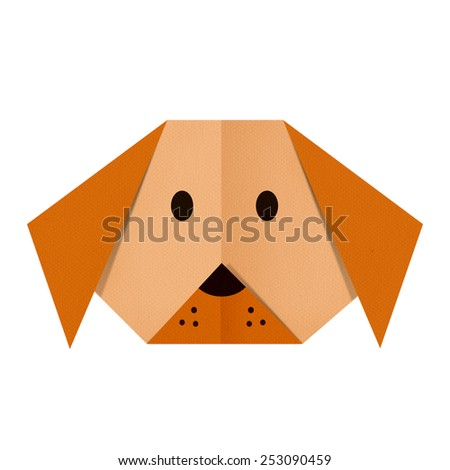 origami paper a dog (face) - stock photo