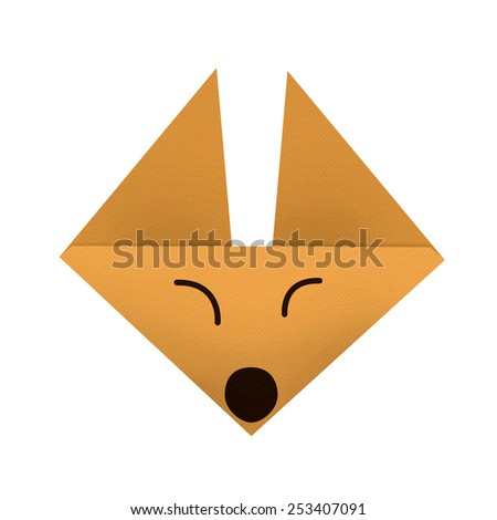 origami paper a fox (face) - stock photo