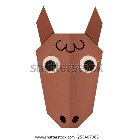 origami paper a horse (face) - stock photo