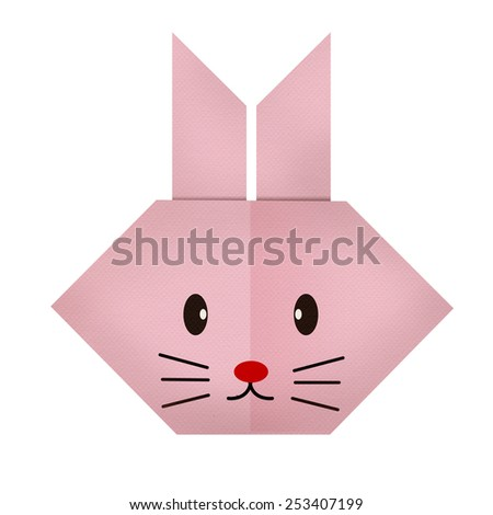 origami paper a rabbit  (face) - stock photo