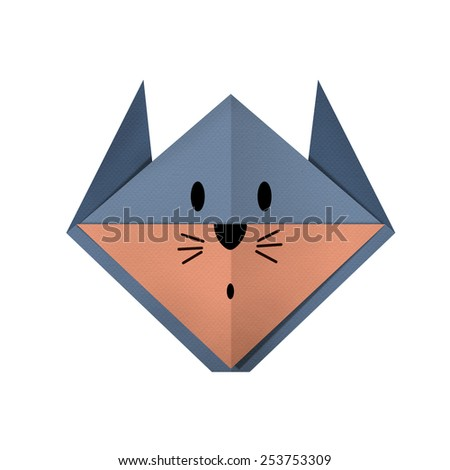 origami paper a rat (face) - stock photo