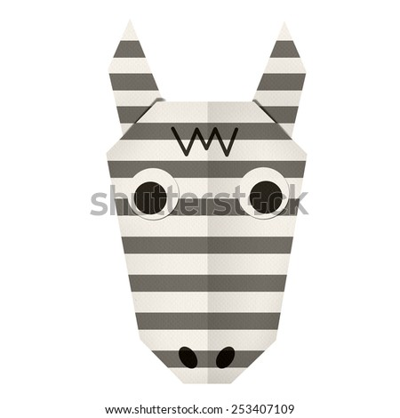 origami paper a zebra (face) - stock photo