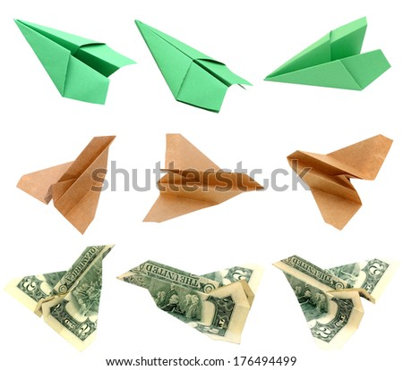 Origami paper airplanes - stock photo