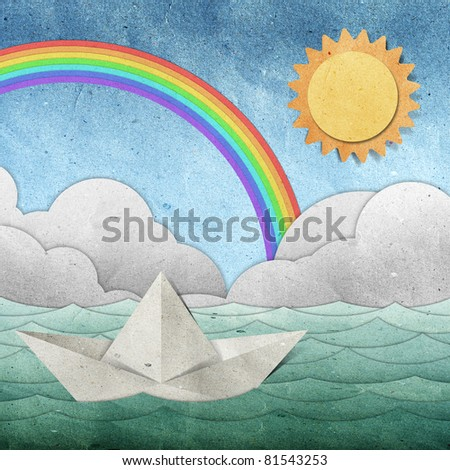 origami paper boat recycled paper craft stick on white background