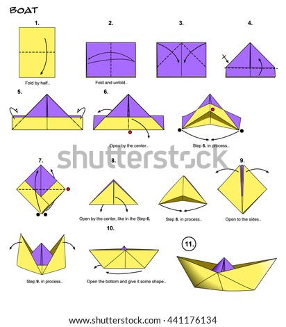 origami paper boat steps stock illustration 441176134