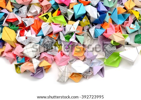 Origami paper boats background - stock photo