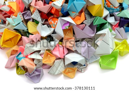 Origami paper boats collection - stock photo