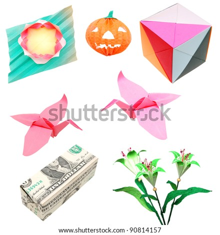 Origami paper collection in isolated - stock photo