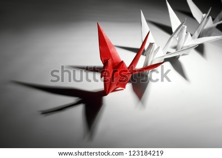 Origami,paper crane,teamwork concept. - stock photo