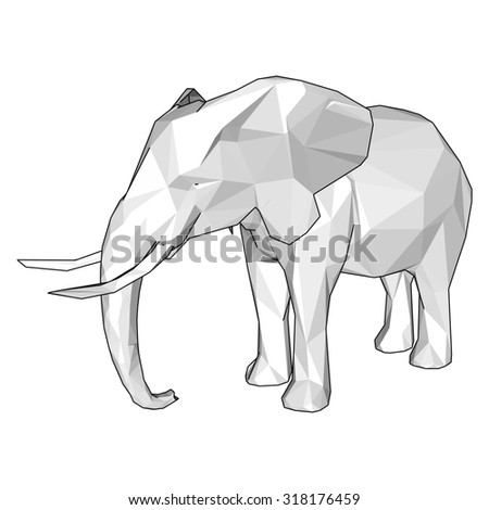 Origami paper elephant on red. Raster 3d - stock photo