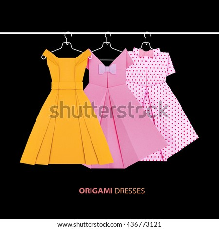 Origami Paper Event Fashion Dresses On Stock Photo Royalty Free