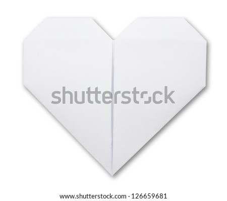 origami paper heart on white - stock photo