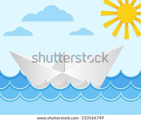 Origami paper ship on ocean waves. Travel transport toy, cruise and vessel