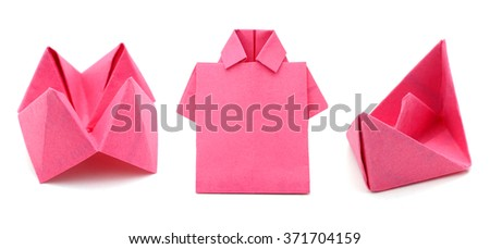 Origami papers on white background - stock photo