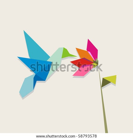 Origami pastel colors hummingbird and flower on pastel color background. - stock photo