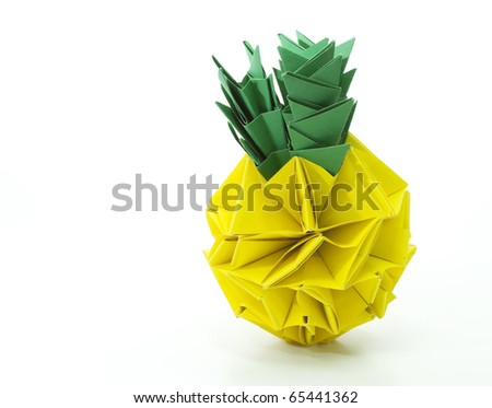 Origami Pineapple Isolated On White Background Stock Photo Royalty