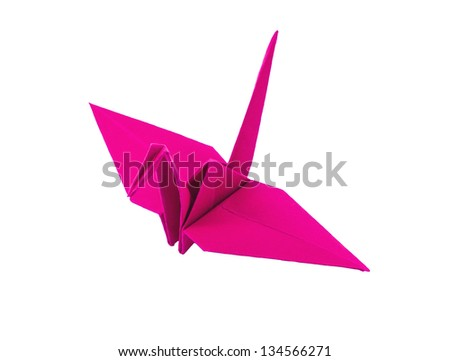 origami pink paper bird on white background