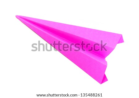 origami pink paper planes on white background - stock photo