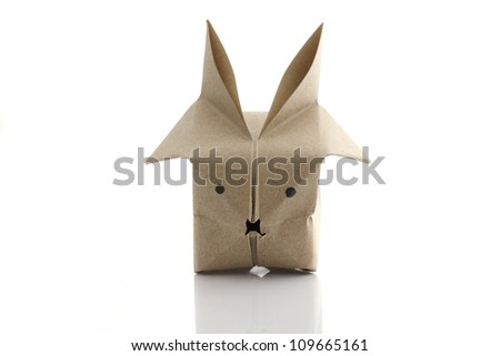 Origami rabbit by recycle papercraft - stock photo