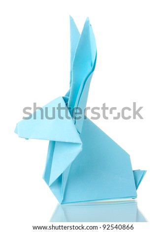 Origami rabbit  out of the blue paper isolated on white